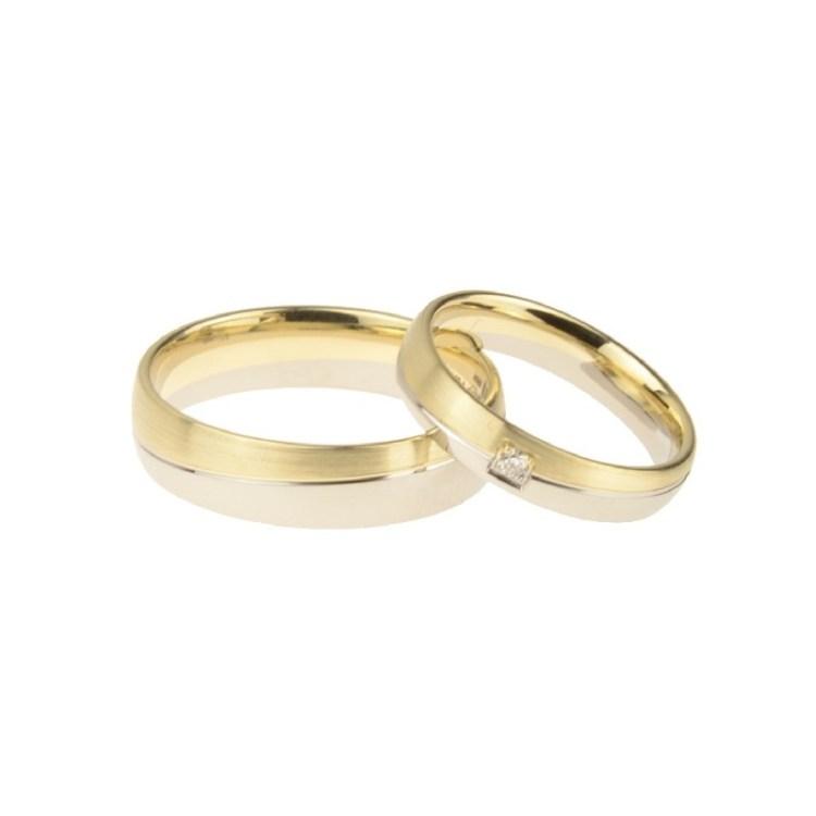 Trauring Spelle Gold Weißgold mit Diamant