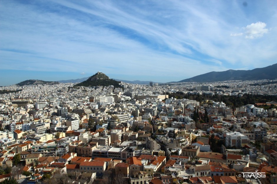 View to Lykabettus, Acropolis, Athens, Greece