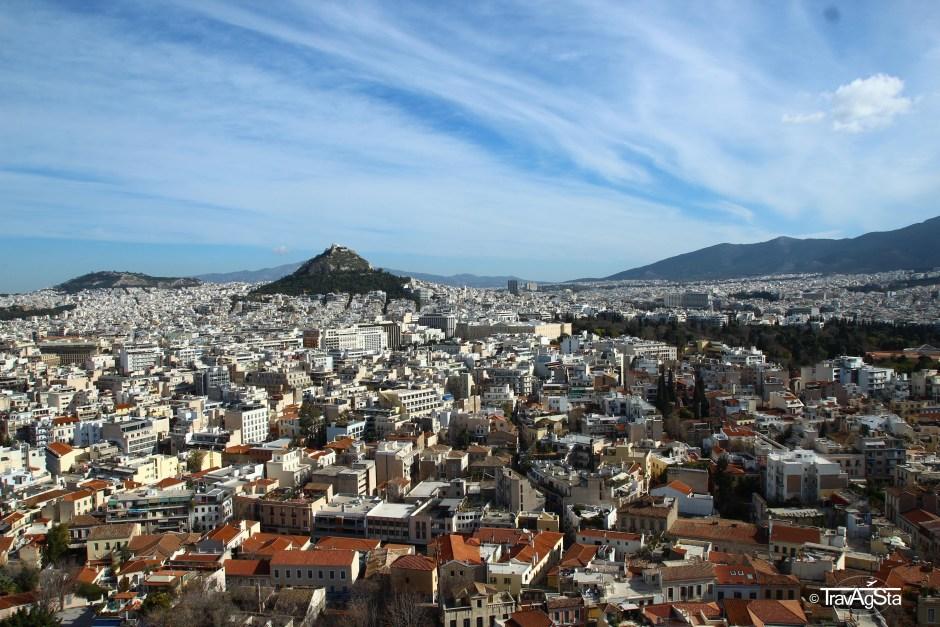 View to Lykabettus from Acropolis, Athens, Greece