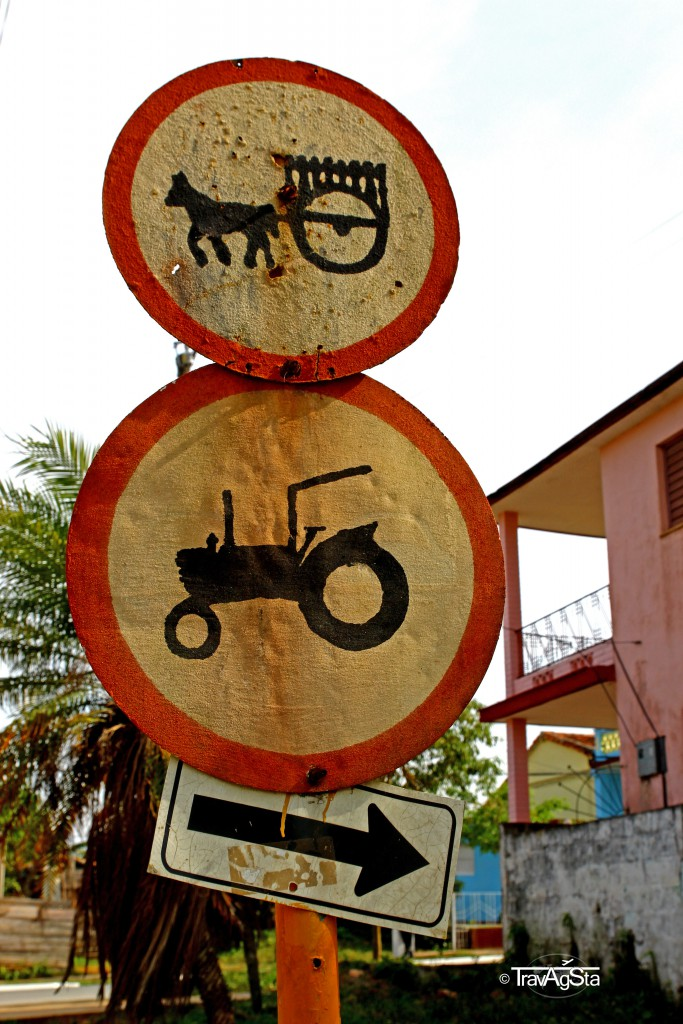 Road signs in Vinales, Cuba - not part of a museum!