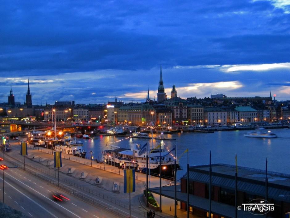 Blick vom Hafen auf Gamla Stan, Stockholm