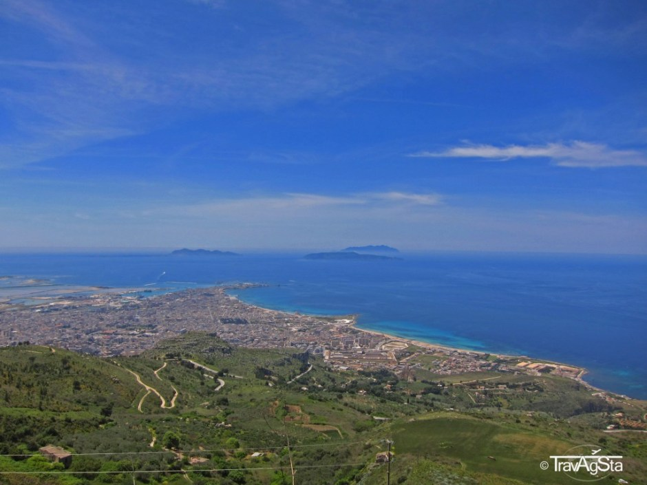 View over Trapani from Erice, Sicily, Italy