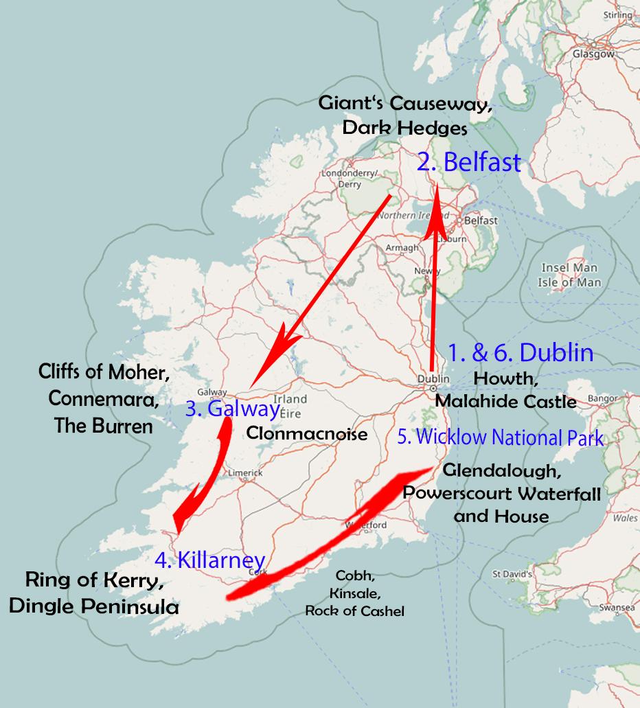 Irland Karte Rundreise.Routenempfehlung Fur 10 Tage Irland Und Nordirland Travagsta