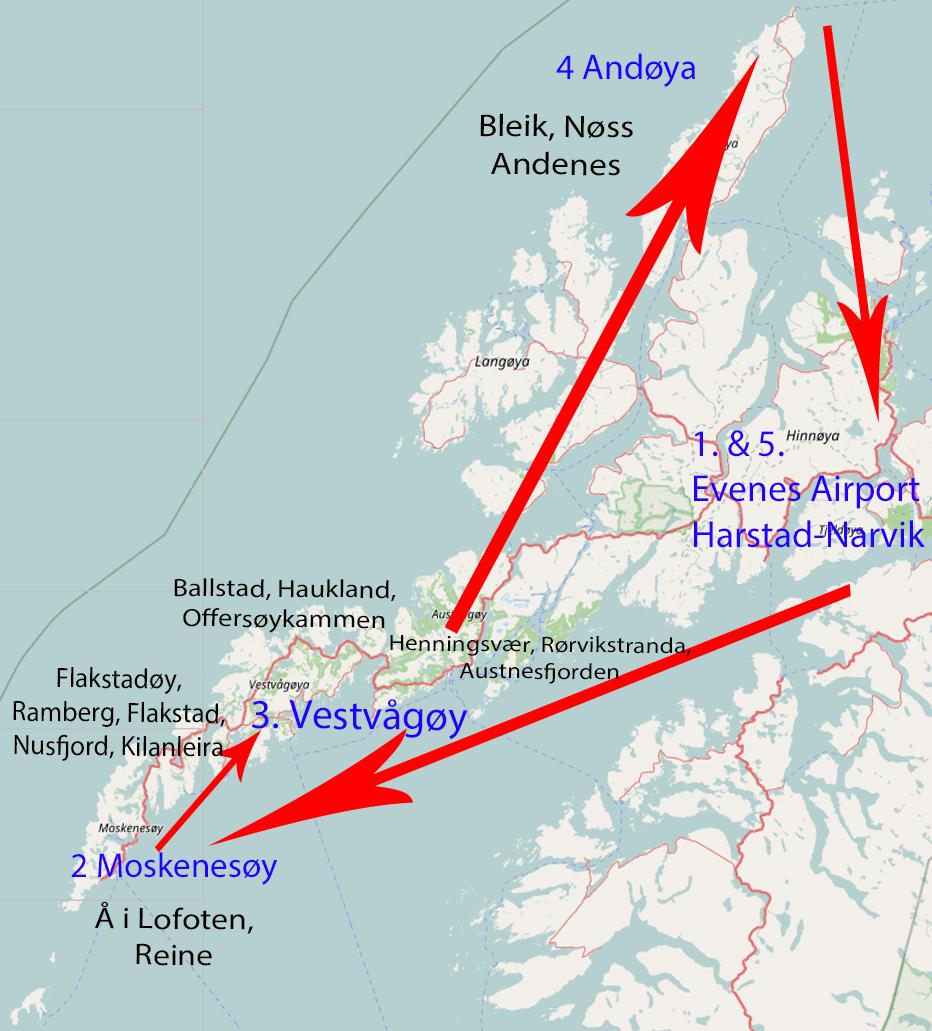 Routenvorschlag für 1 Woche Lofoten & Vesterålen!