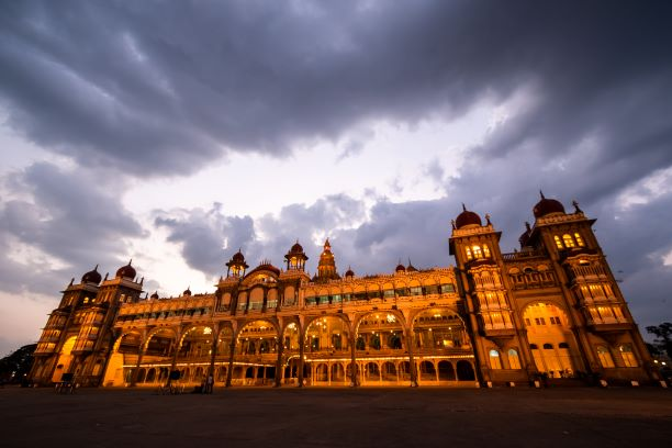 Mysore palace lit in the evening