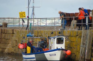 Fishermen at work in Mousehole