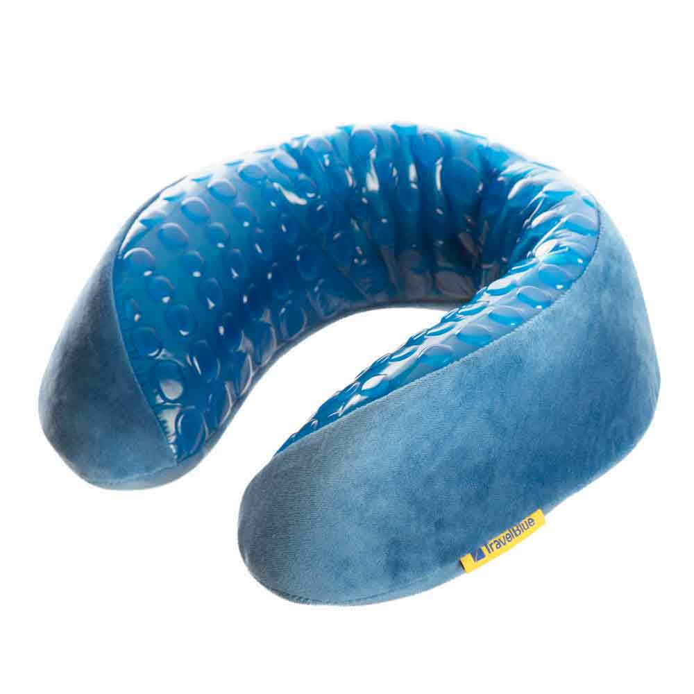 blue memory foam travel pillow with