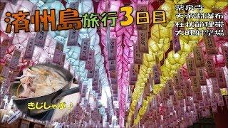 【済州島旅行3日目:海外旅行】韓国の済州島の3日目です。グルメ!薬泉寺、柱状節理帯、天帝淵瀑布、大旺射撃場、雉鍋、しゃぶしゃぶ、石焼ビビンバ♪제주도 관광 3일