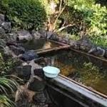 嬬恋村。半出来温泉登喜和荘の混浴露天風呂。ぬる湯の名湯です。