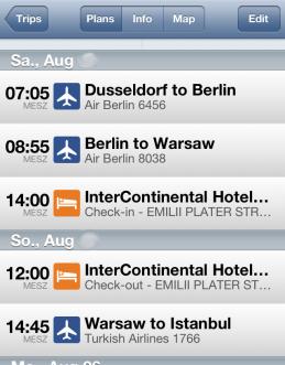 Übersicht über eine Reise in der iOS-App