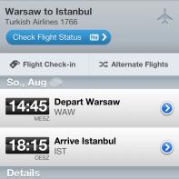 Detailansicht eines Fluges in der iOS-App