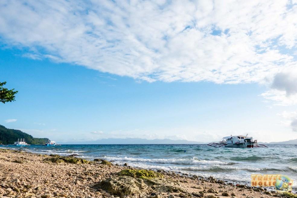 Vue depuis la plage du Sogod Bay Scuba Resort, Philippines