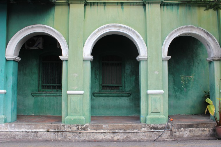 A colorful facade in the colonial area of George Town, Penang.