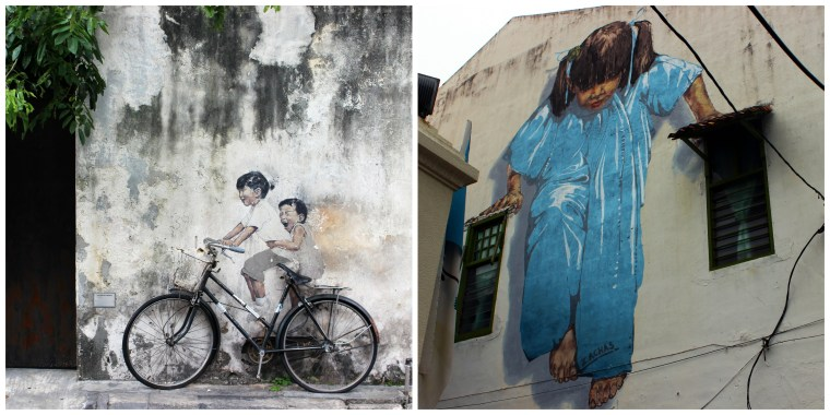 A couple example's of Penang's funky street art - George Town, Penang, Malaysia