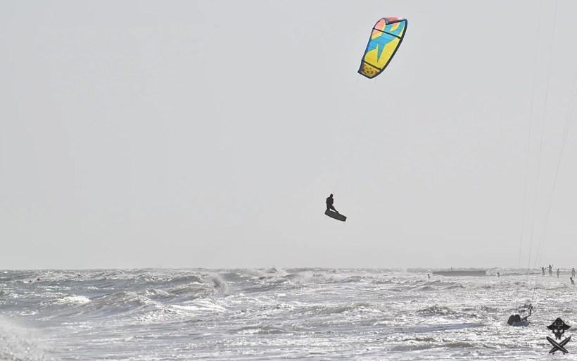 kitesurfer Lenny doing big air kite loop in Mui Ne Vietnam 2018