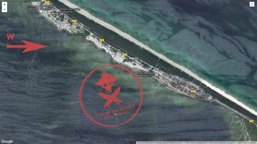precise map of chalupy 6 camping located on hel peninsula in poland the best kitesurfing spot in Poland