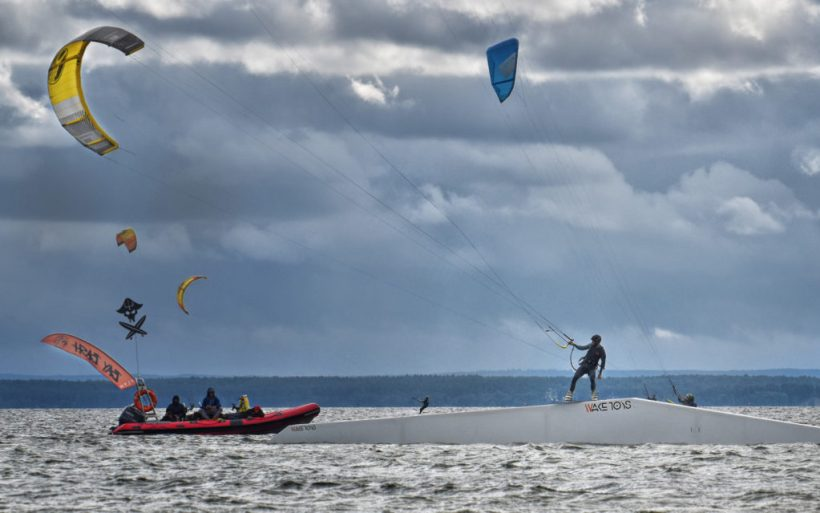 kiteboarding rooftop kicker kite park flyn poland hel competition