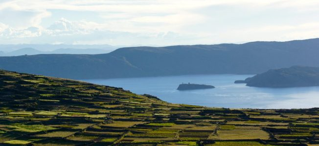 terraced farming on Amantani Island, Lake Titicaca, Peru