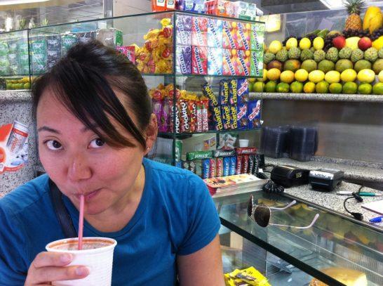 Enjoying one of many Big Bi fresh juices