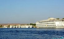 Cruise ships parked on the Nile