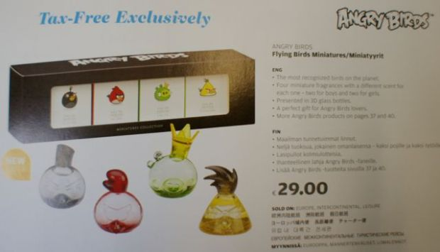 You can even buy Angry Birds perfume Duty-Free on Finnair