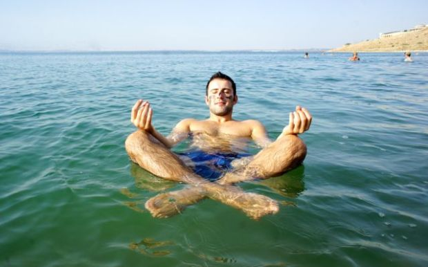 While floating in the Dead Sea, Jordan