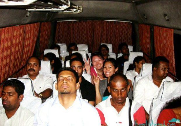 Blending in on the luxury AC bus in Sri Lanka