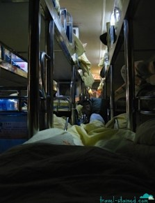The view from the back of the sleeper bus