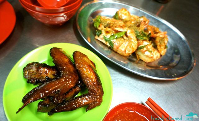Wong Ah Wah chicken wings and butter prawns