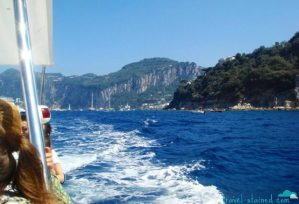 On a tour boat headed towards the Grotta Azzurra