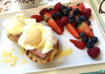 Eggs benny with amazing fresh fruit