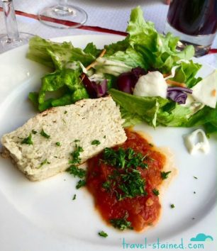 Terrine de poisson et sa concassée de tomates (Homemade white fish terrine served with crushed tomatoes)