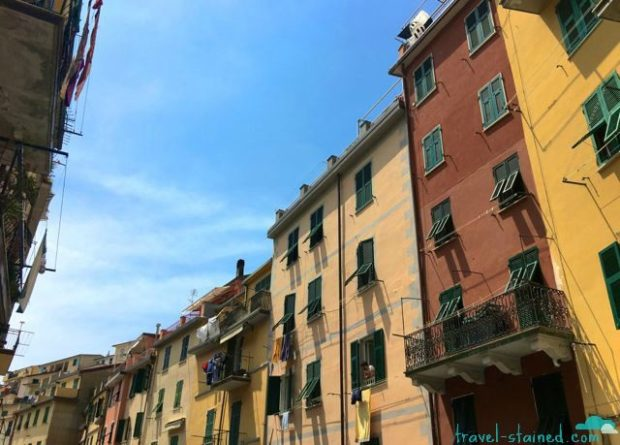 Pastel-hued buildings and blue sky - the classic Cinque Terre combo.