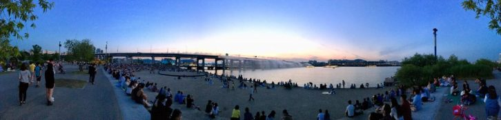 Panorama of the south side of Banpo Bridge and the Banpo Bridge Rainbow Fountain