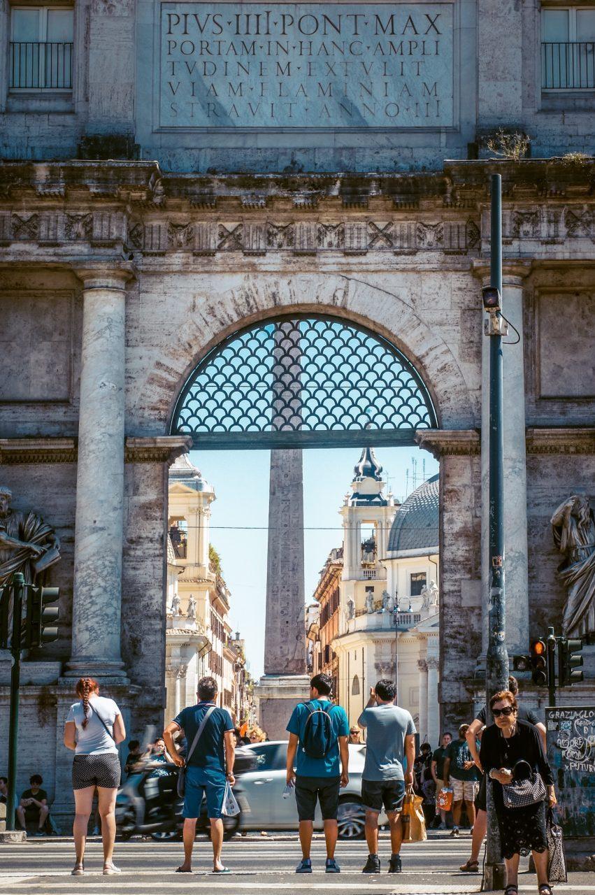 entrance to piazza del popolo rome italy