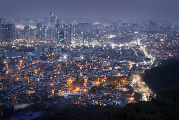 seoul at night from above