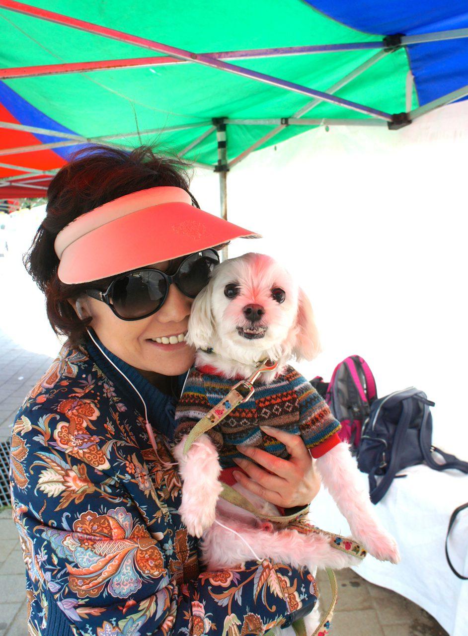 ajumma with her dog