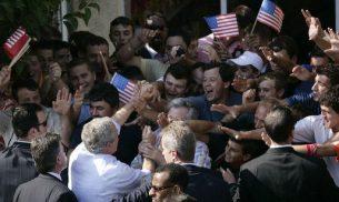 Bush-mania in Fushe Kruje in 2007 (White House Archives)