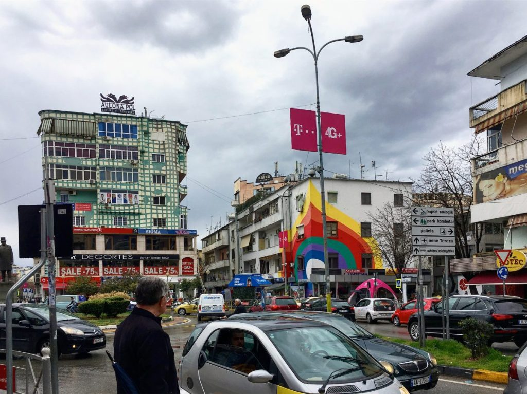 painted buildings in tirana albania