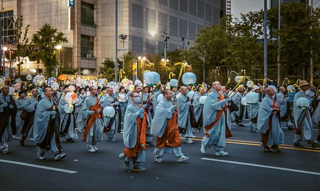 lotus lantern parade during spring in korea