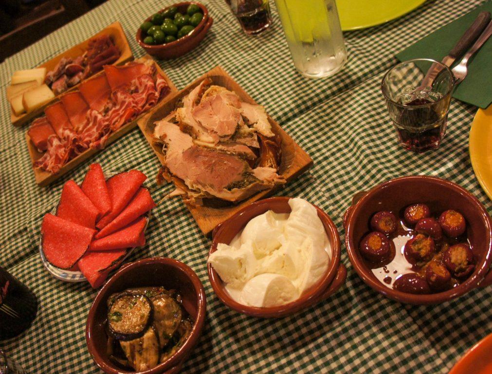 porchetta di ariccia and antipasti at osteria aricciarola