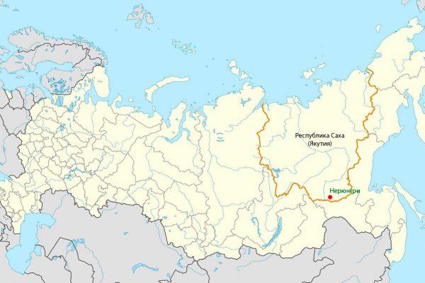 Нерюнгри на карте России