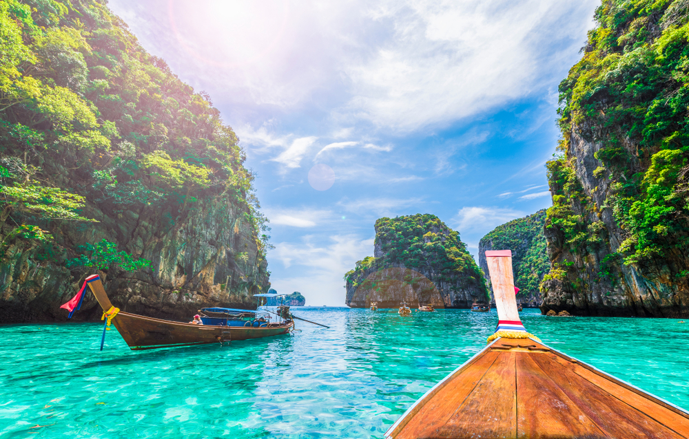 Arrive at Maya Bay, the beach featured in the movie
