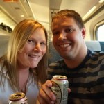 Happy Hour with Yuengling Lager Beer on Amtrak to Pittsburg