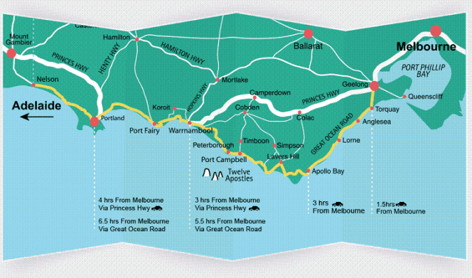 Great Ocean Road Self Drive Itinerary Map