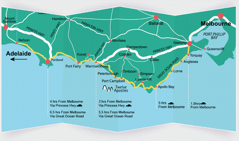 Drive to 12 Apostles from Melbourne Map