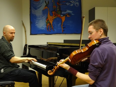 our first chance to play together, for a couple hours in 2/2013. thanks to Andrea Larson for the photo.