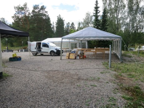 caterer's tent in the parking lot