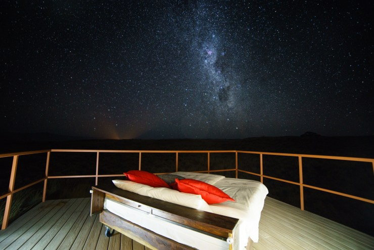 The Milky Way Rises Over Our Outdoor Bed At The Gondwanna Collection Namib Dune Star Camp