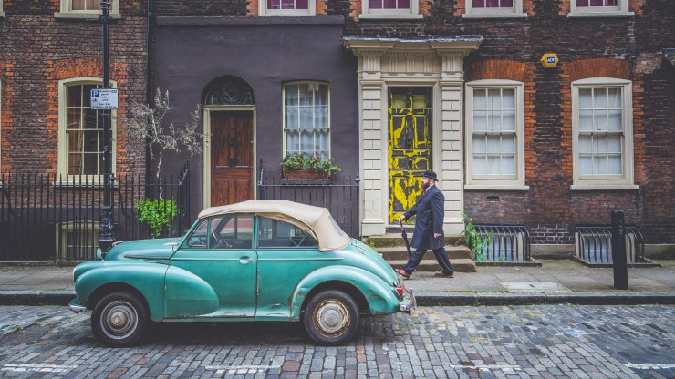 A great place to stride by for The Bowler Man in Elder Street London. This place looked like a film set and that car was perfect.